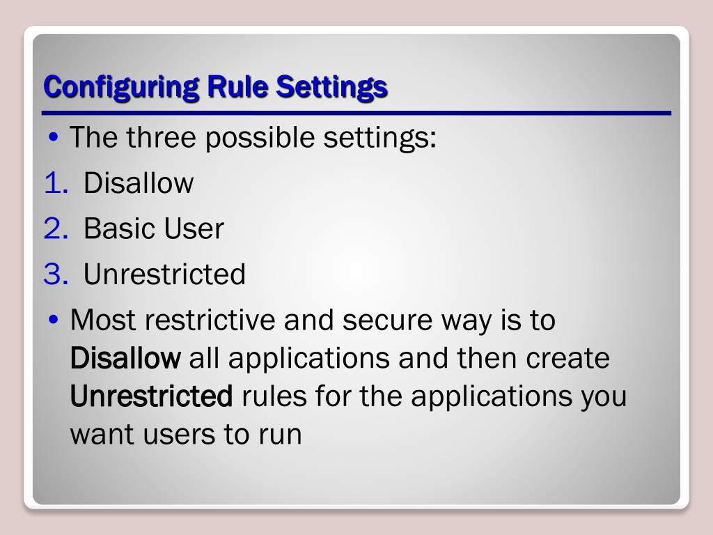 Configuring Rule Settings