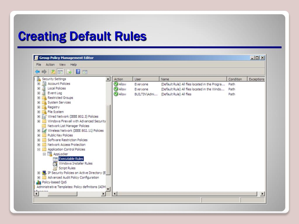 Creating Default Rules