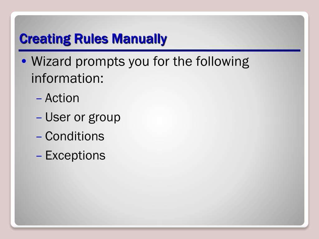Creating Rules Manually