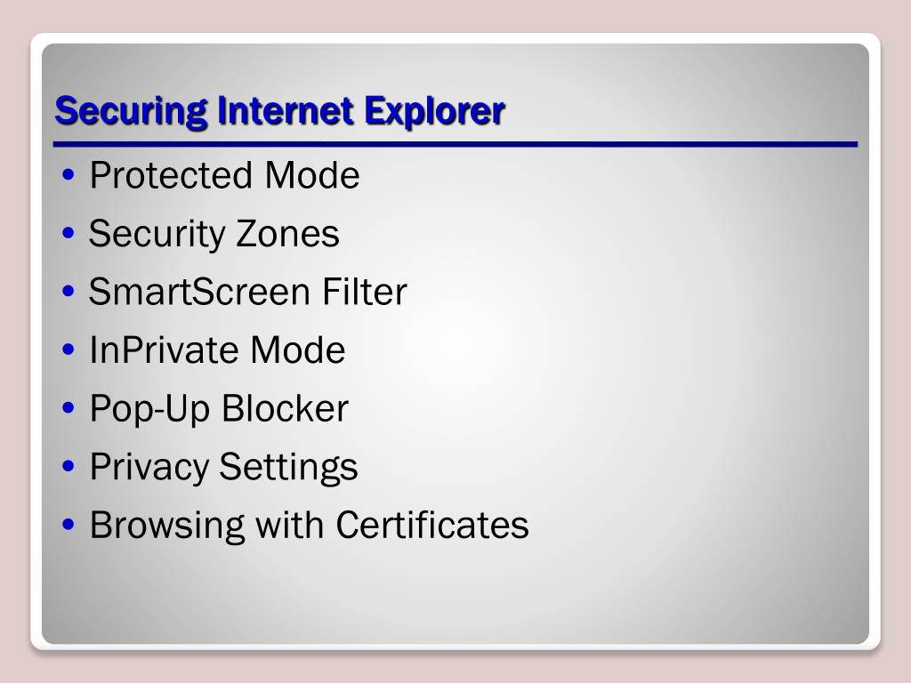 Securing Internet Explorer