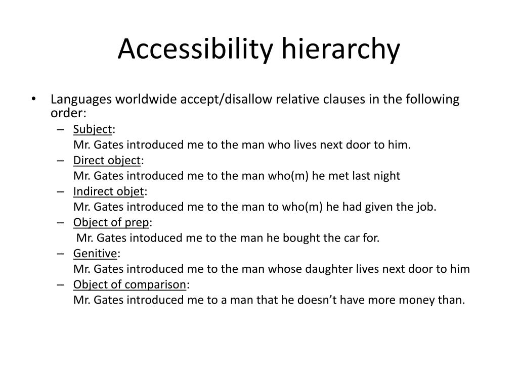 Accessibility hierarchy