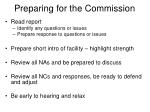 preparing for the commission