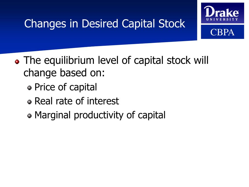 Changes in Desired Capital Stock