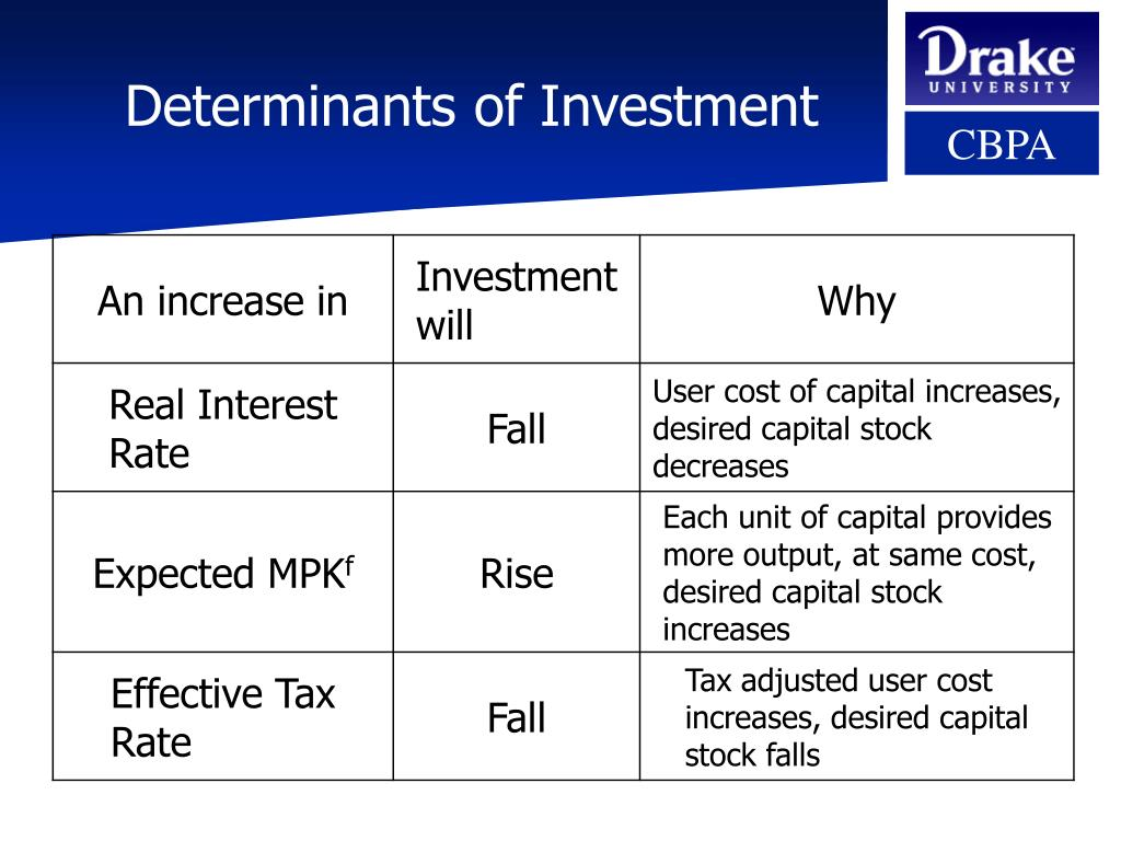 Determinants of Investment