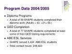 program data 2004 2005