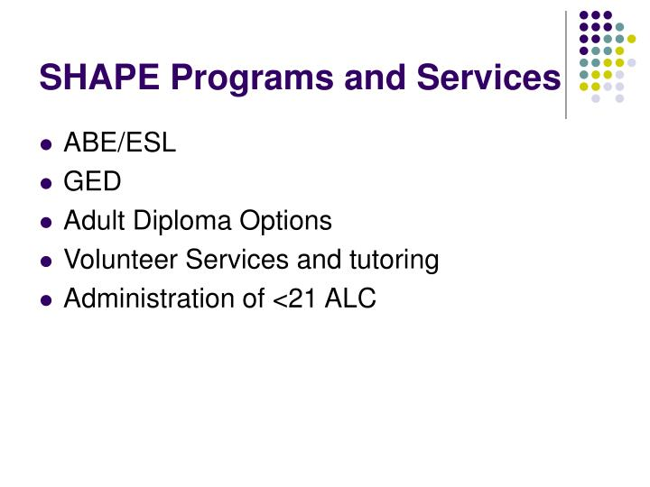 Shape programs and services
