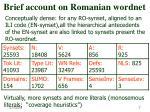brief account on romanian wordnet