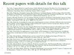 recent papers with details for this talk