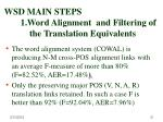 wsd main steps 1 word alignment and filtering of the translation equivalents