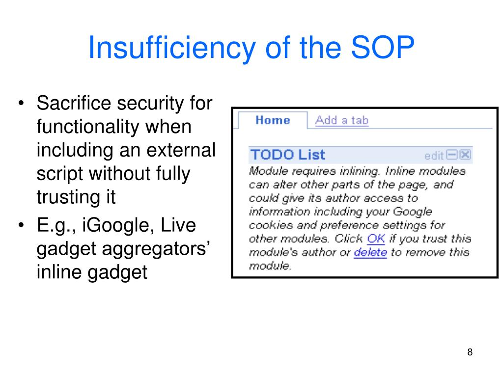 Insufficiency of the SOP