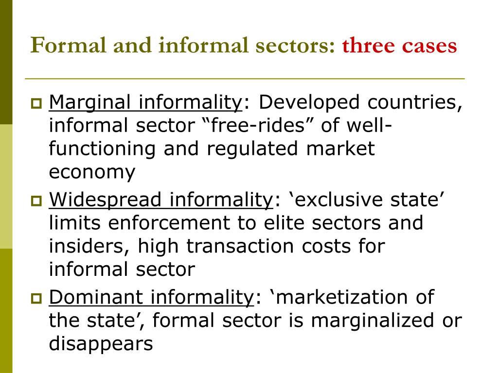 Formal and informal sectors:
