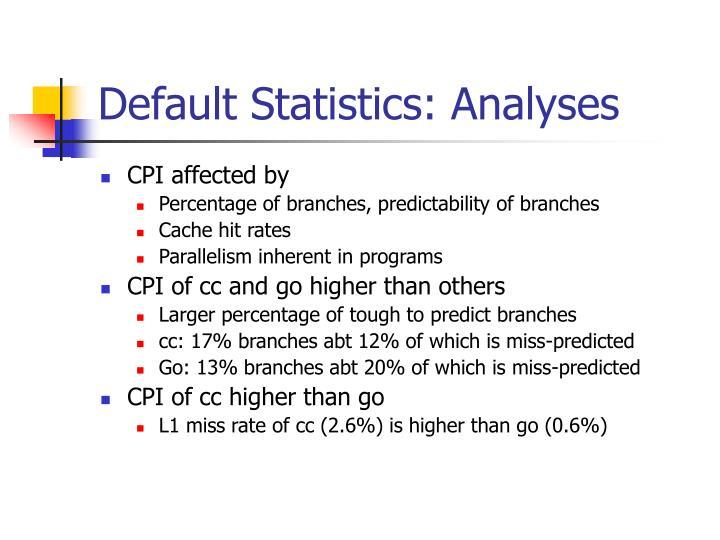 Default statistics analyses