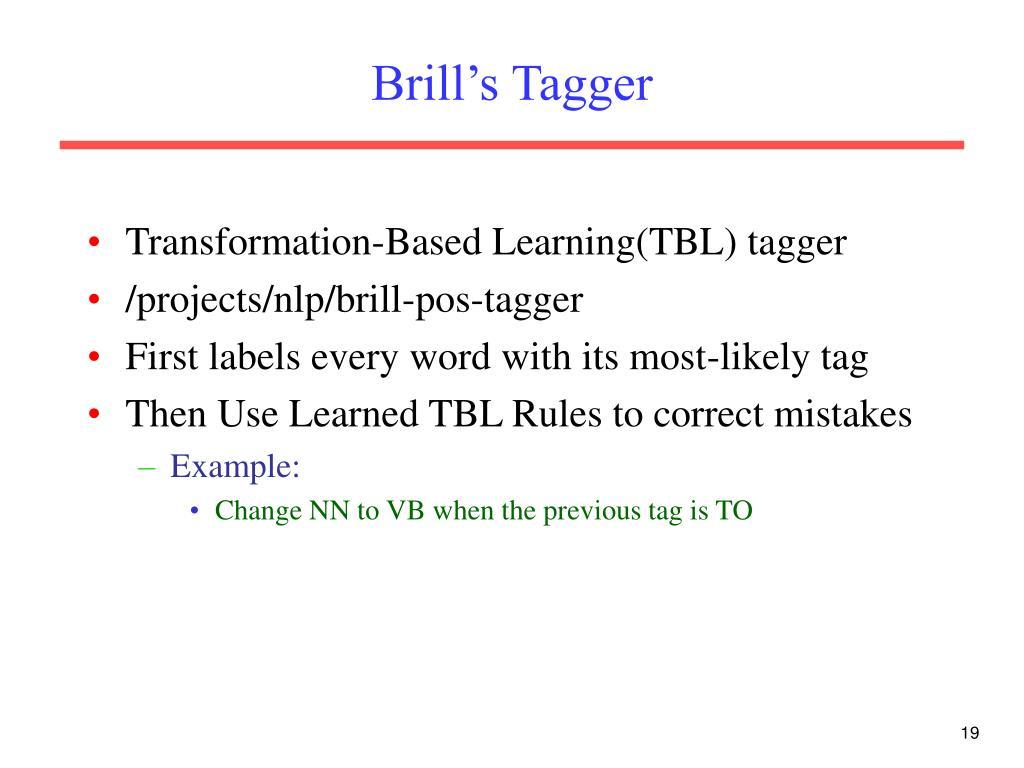 Brill's Tagger