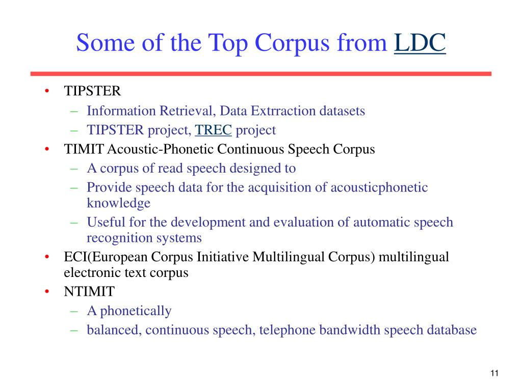 Some of the Top Corpus from