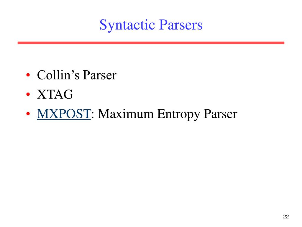 Syntactic Parsers