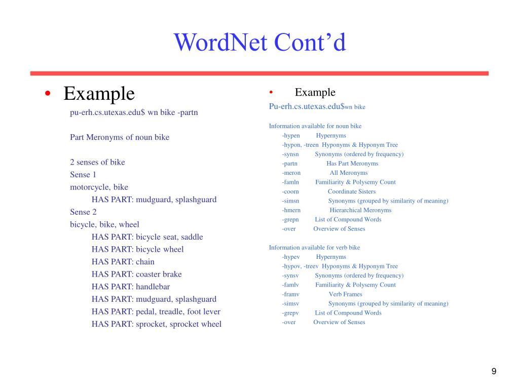 WordNet Cont'd