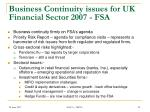 business continuity issues for uk financial sector 2007 fsa