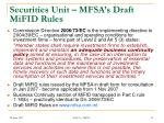 securities unit mfsa s draft mifid rules