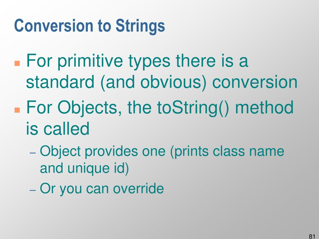 Conversion to Strings