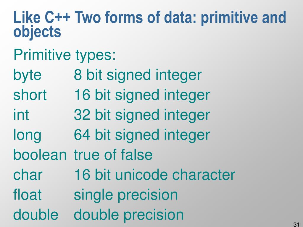 Like C++ Two forms of data: primitive and objects
