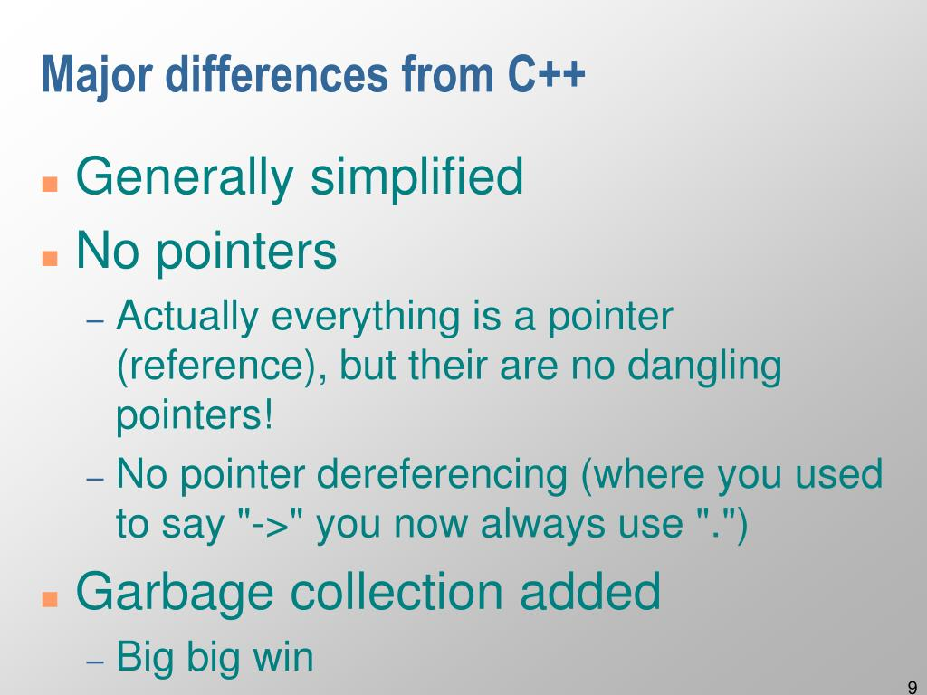 Major differences from C++