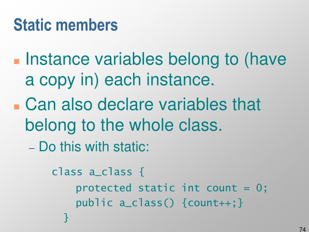 Static members