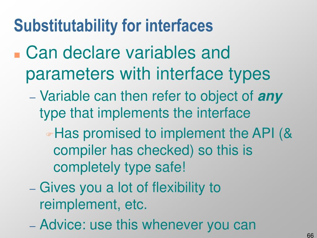 Substitutability for interfaces