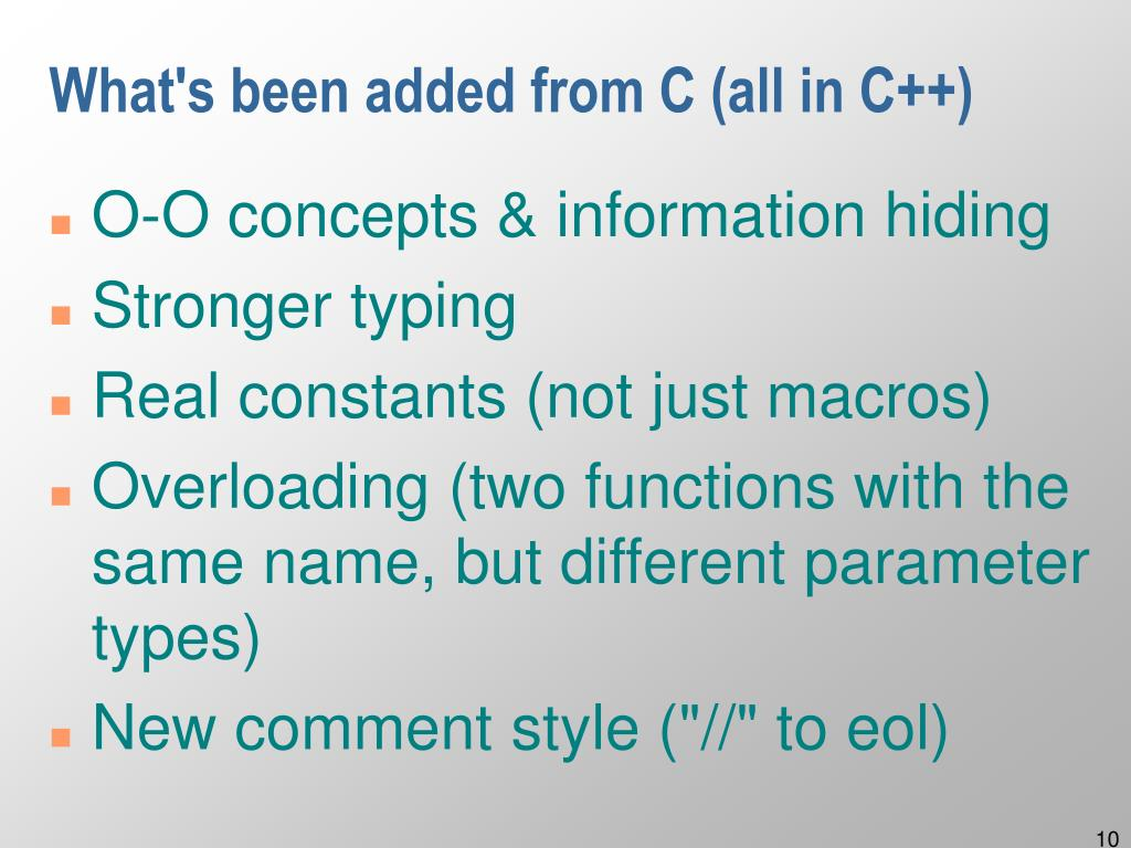 What's been added from C (all in C++)