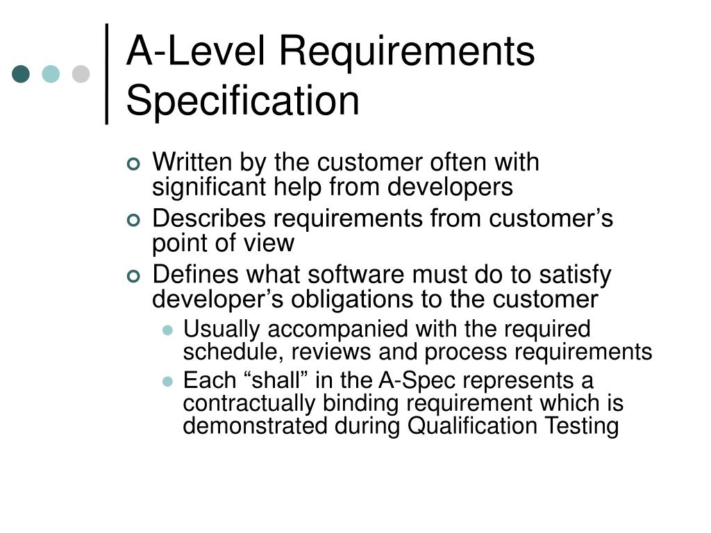 A-Level Requirements Specification