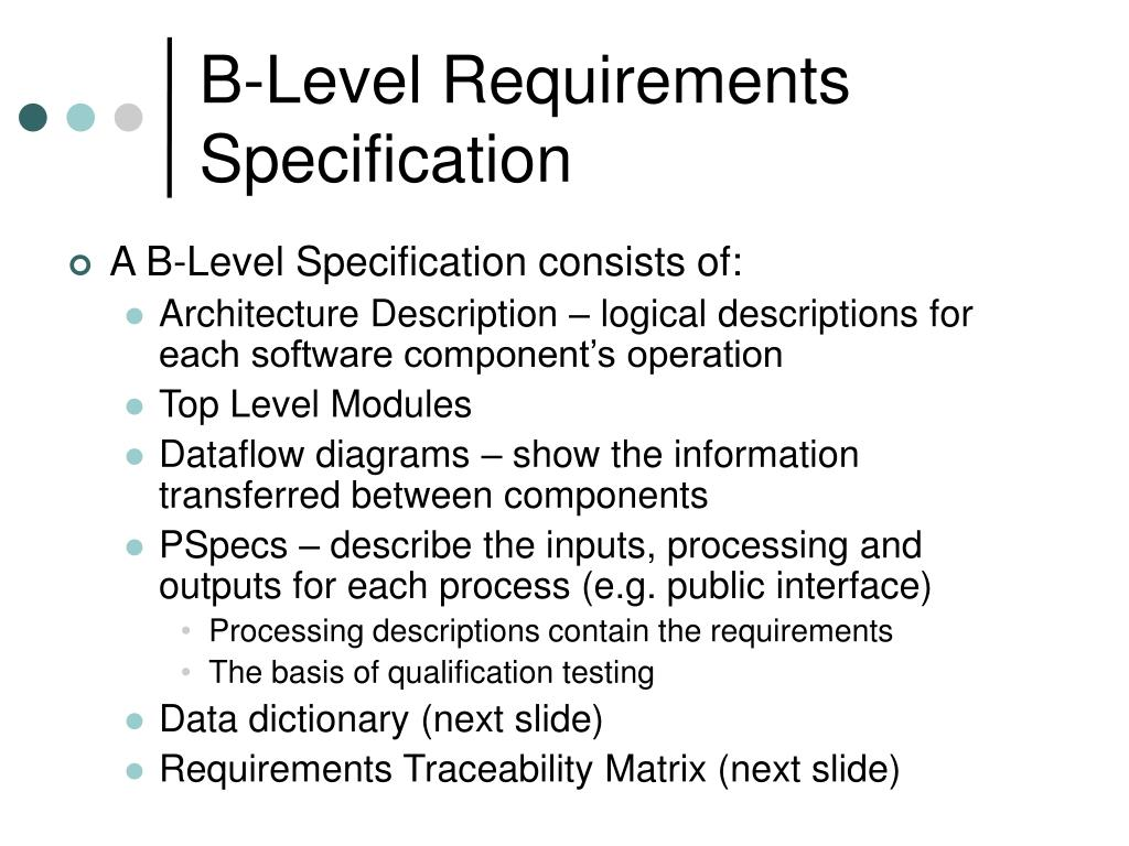 B-Level Requirements Specification