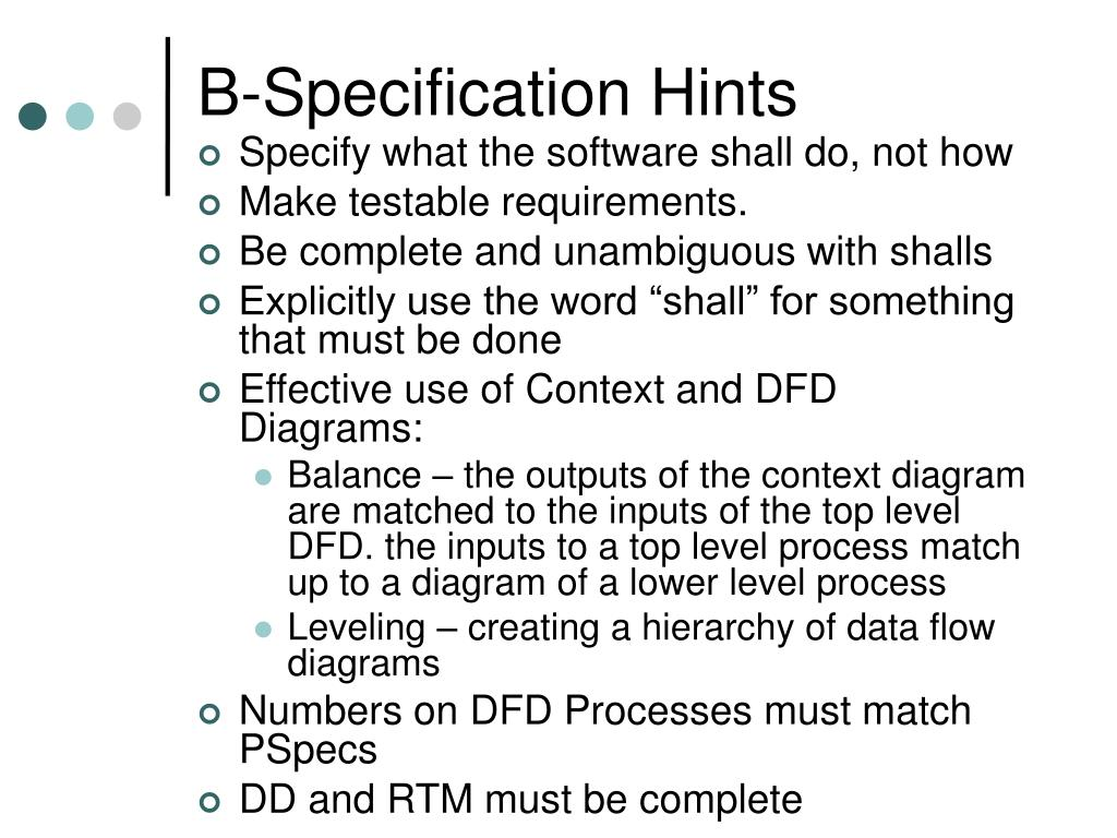 B-Specification Hints