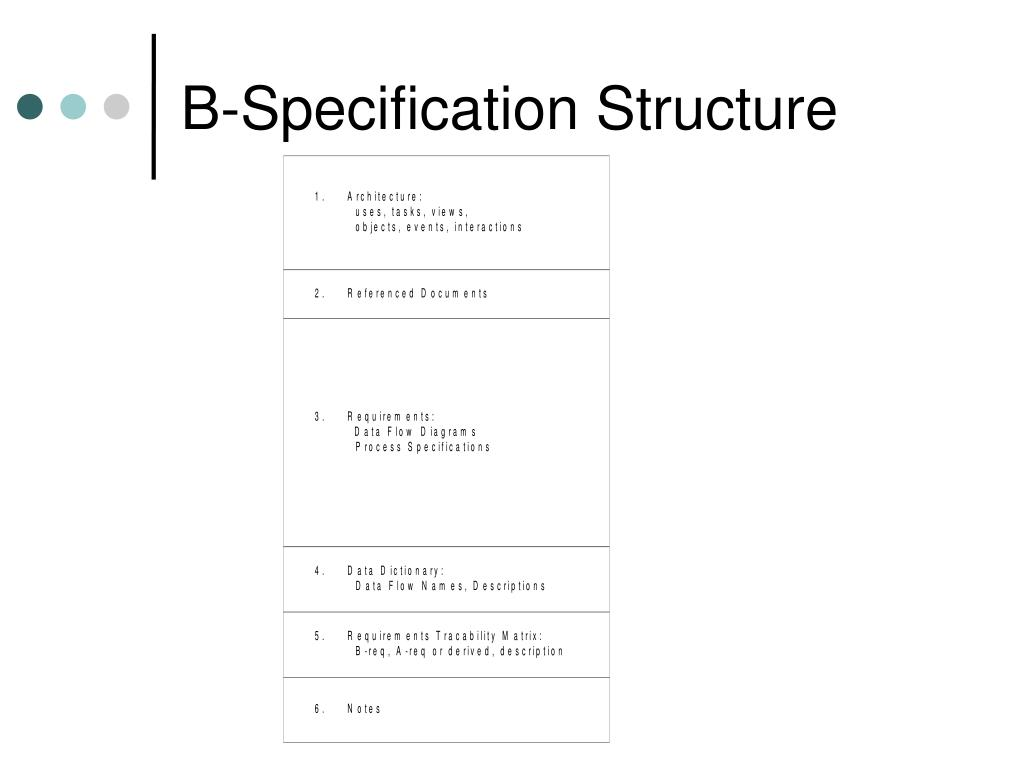 B-Specification Structure