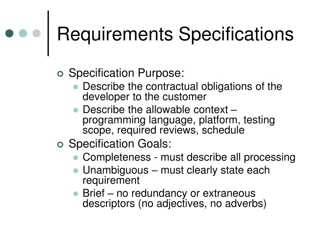 Requirements Specifications
