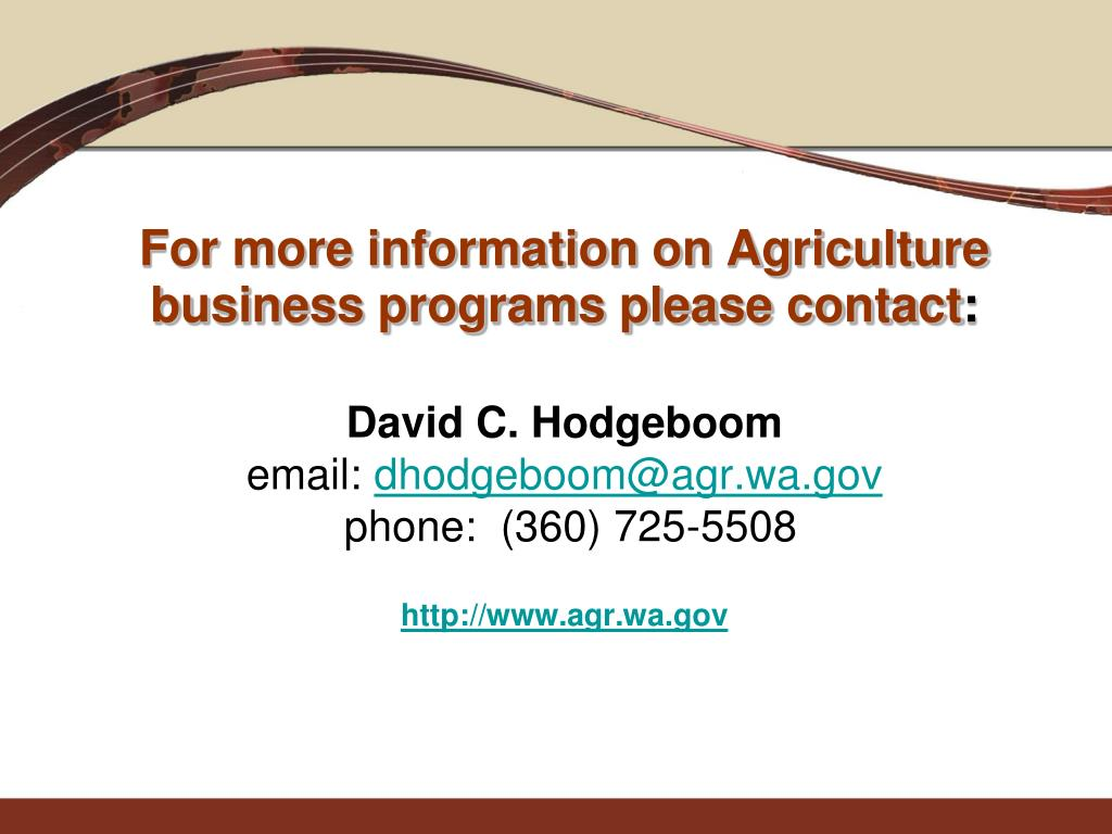 For more information on Agriculture business programs please contact