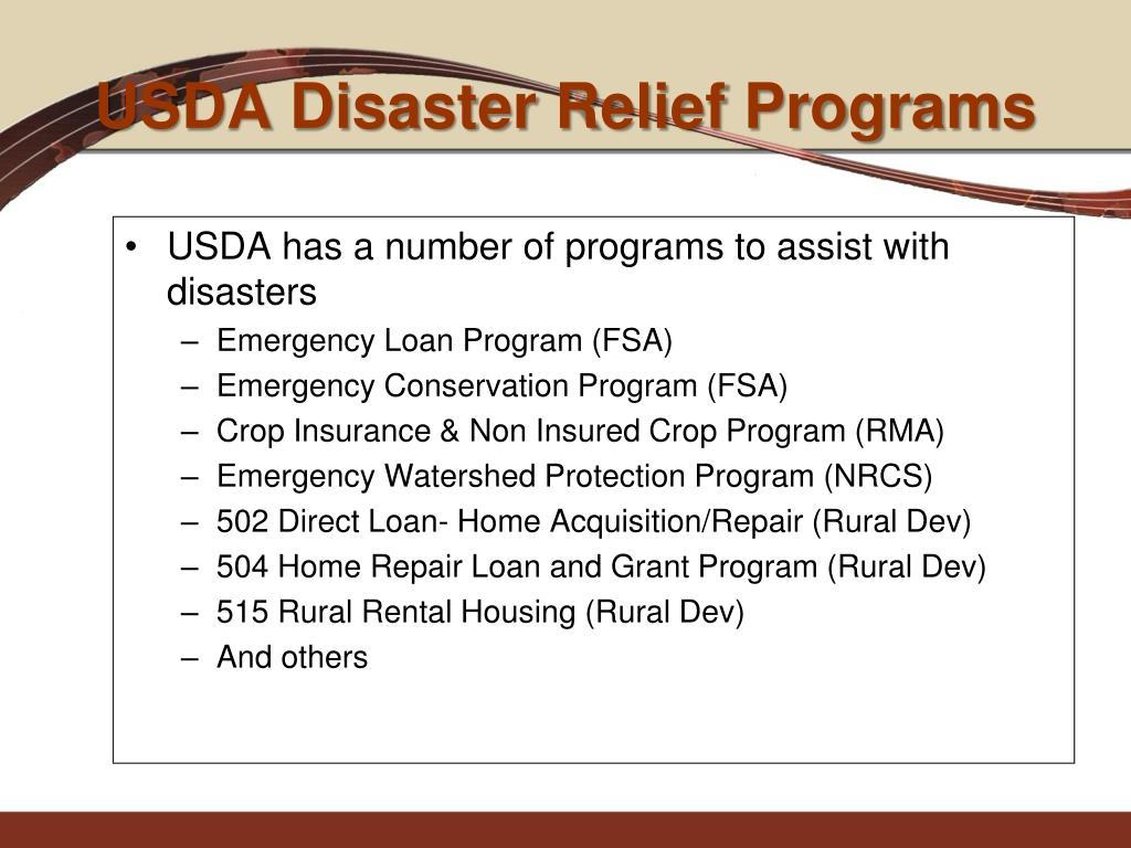 USDA Disaster Relief Programs