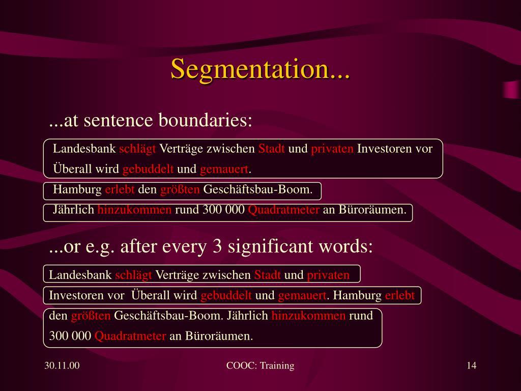 Segmentation...