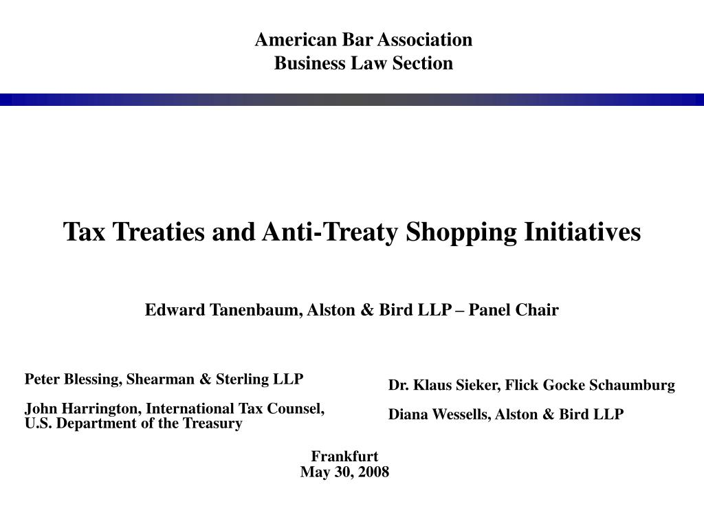 tax treaties and anti treaty shopping initiatives l.
