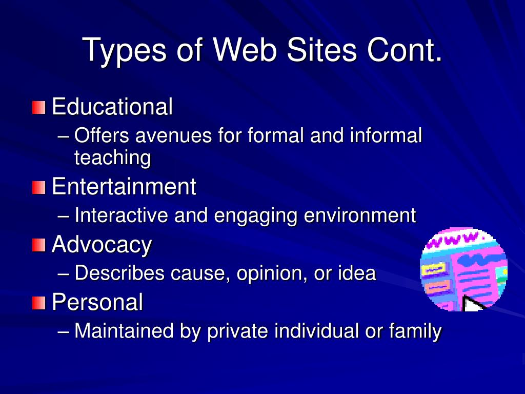 Types of Web Sites Cont.