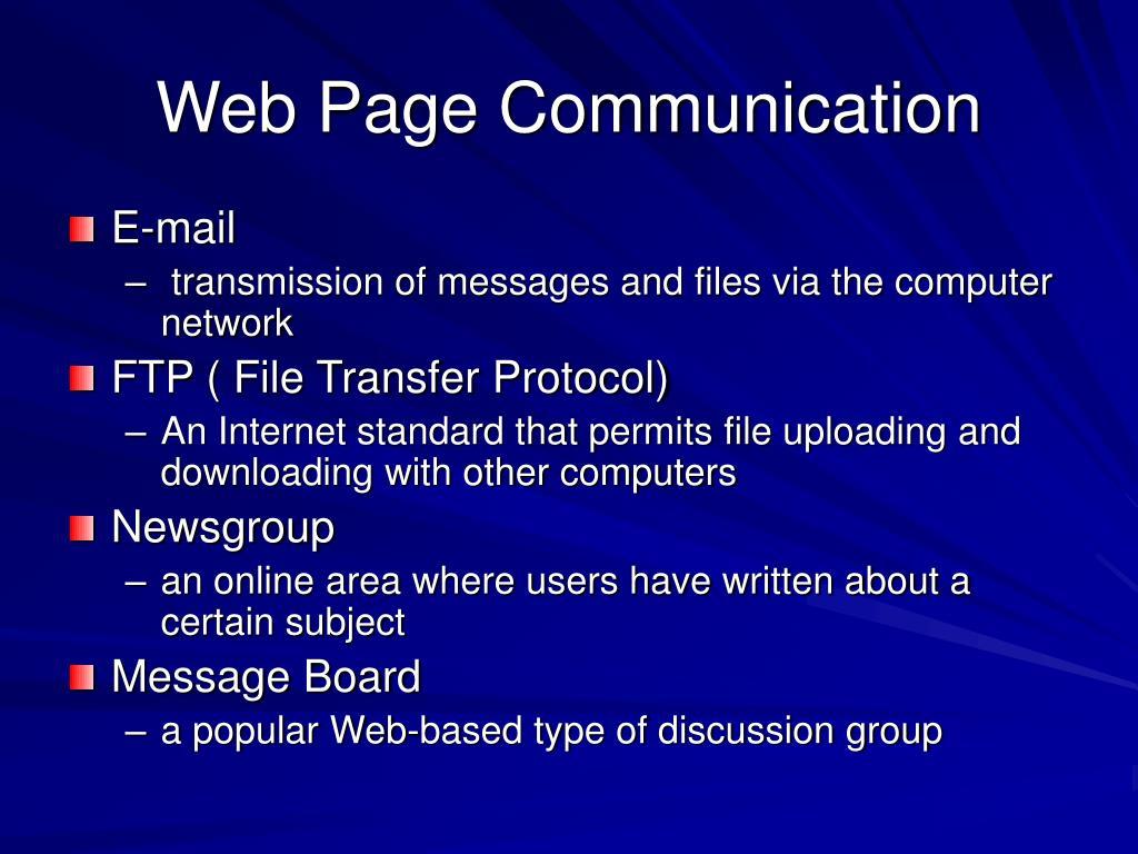 Web Page Communication