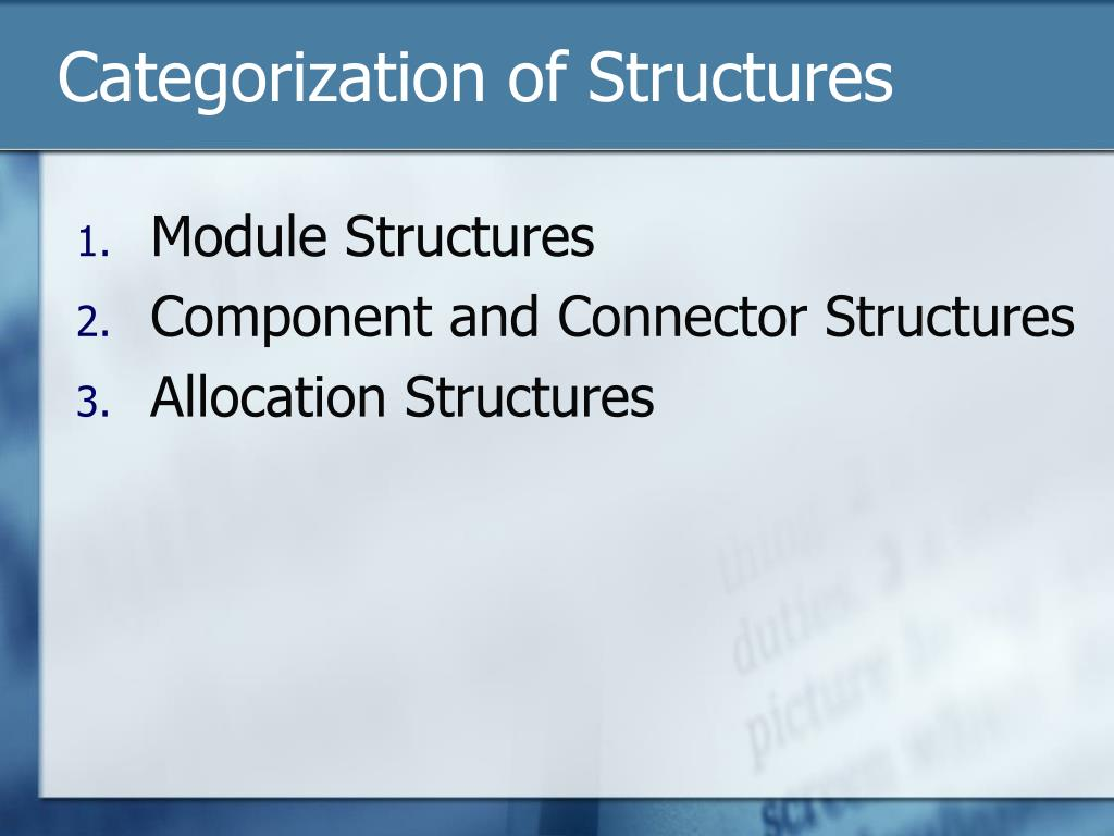 Categorization of Structures