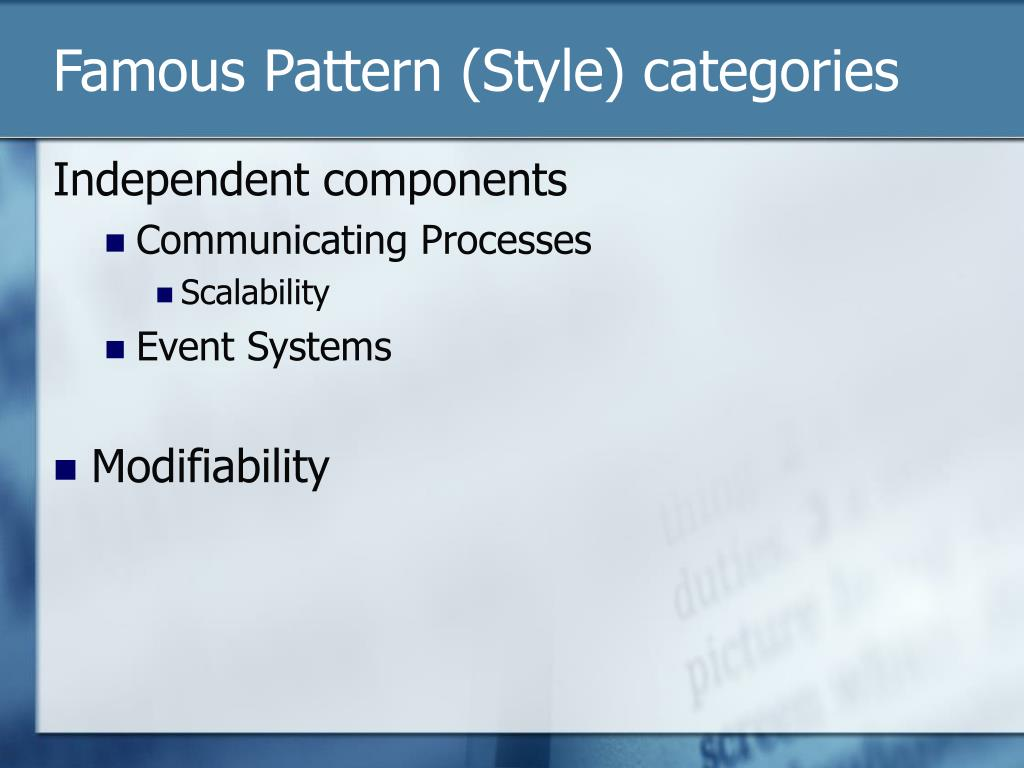 Famous Pattern (Style) categories