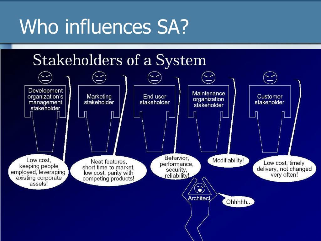 Who influences SA?