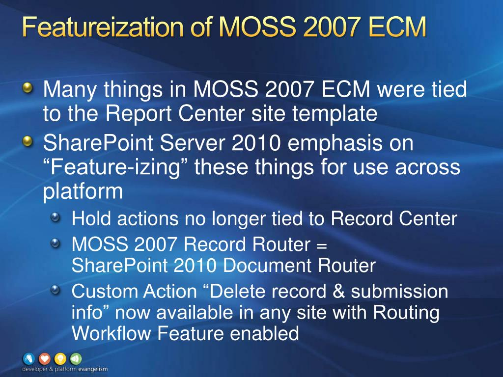 Featureization of MOSS 2007 ECM
