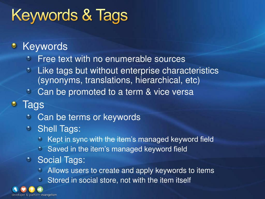 Keywords & Tags