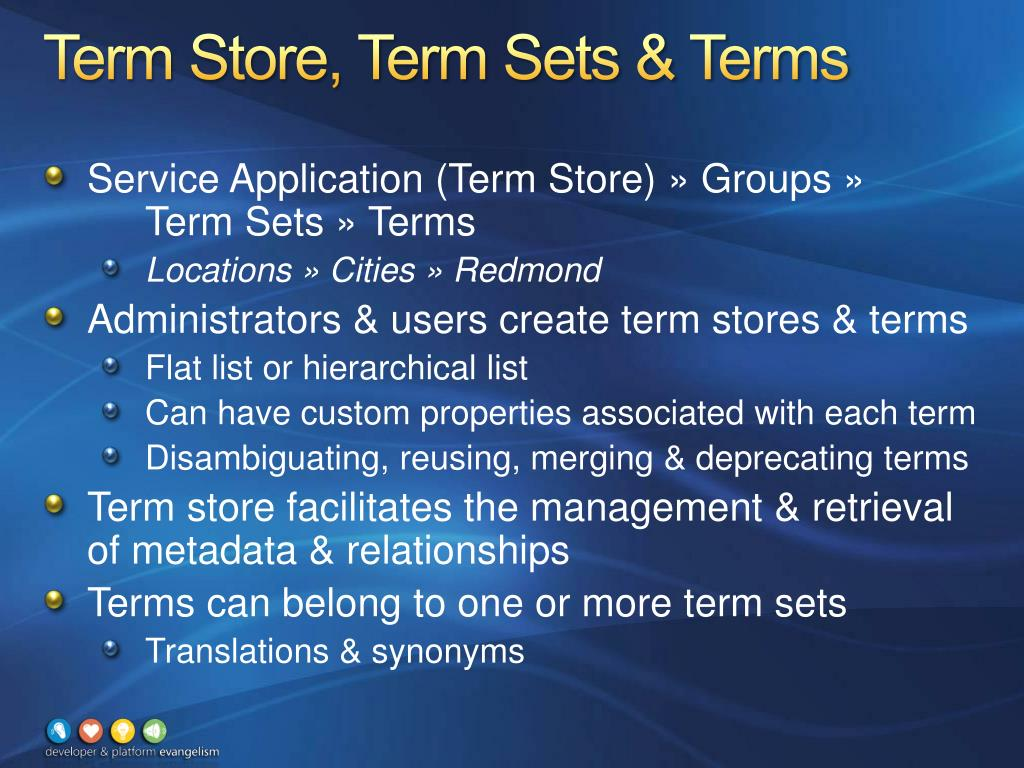 Term Store, Term Sets & Terms