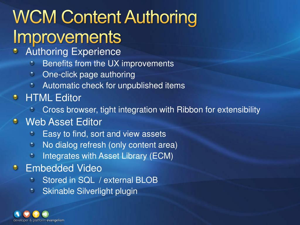 WCM Content Authoring Improvements