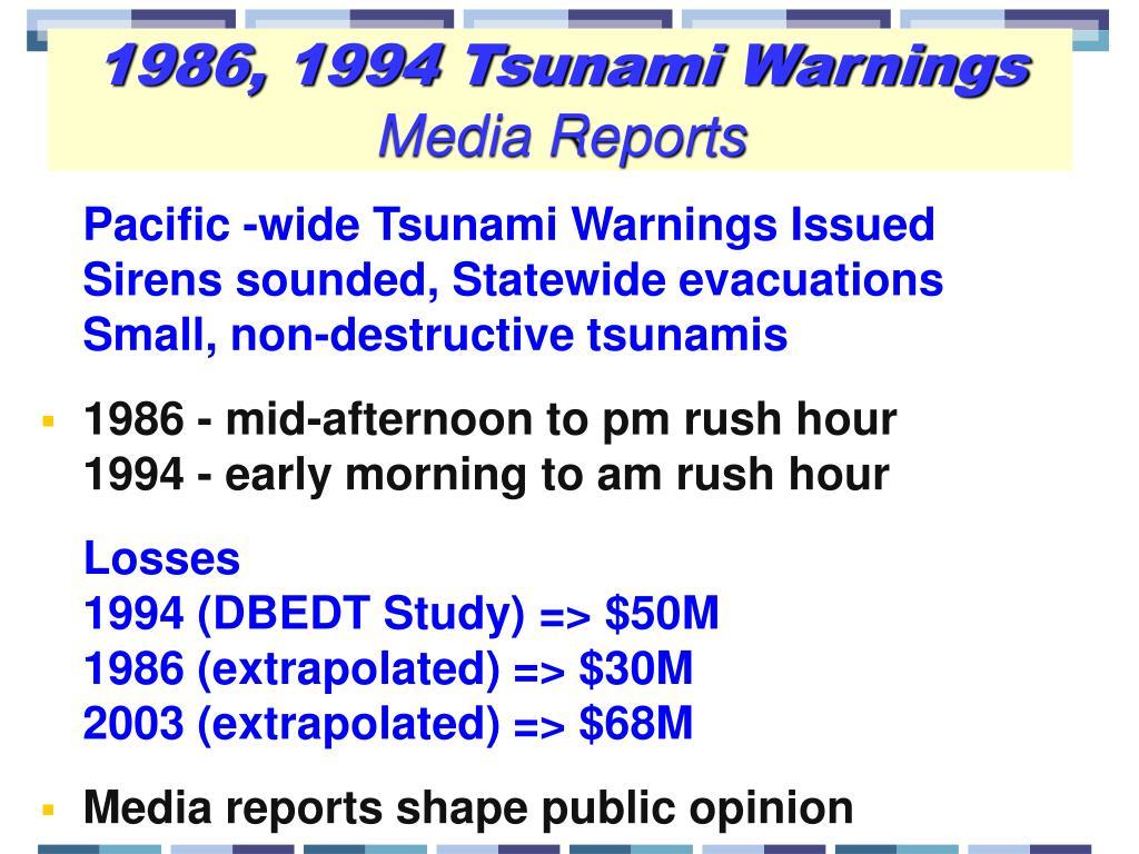 1986, 1994 Tsunami Warnings