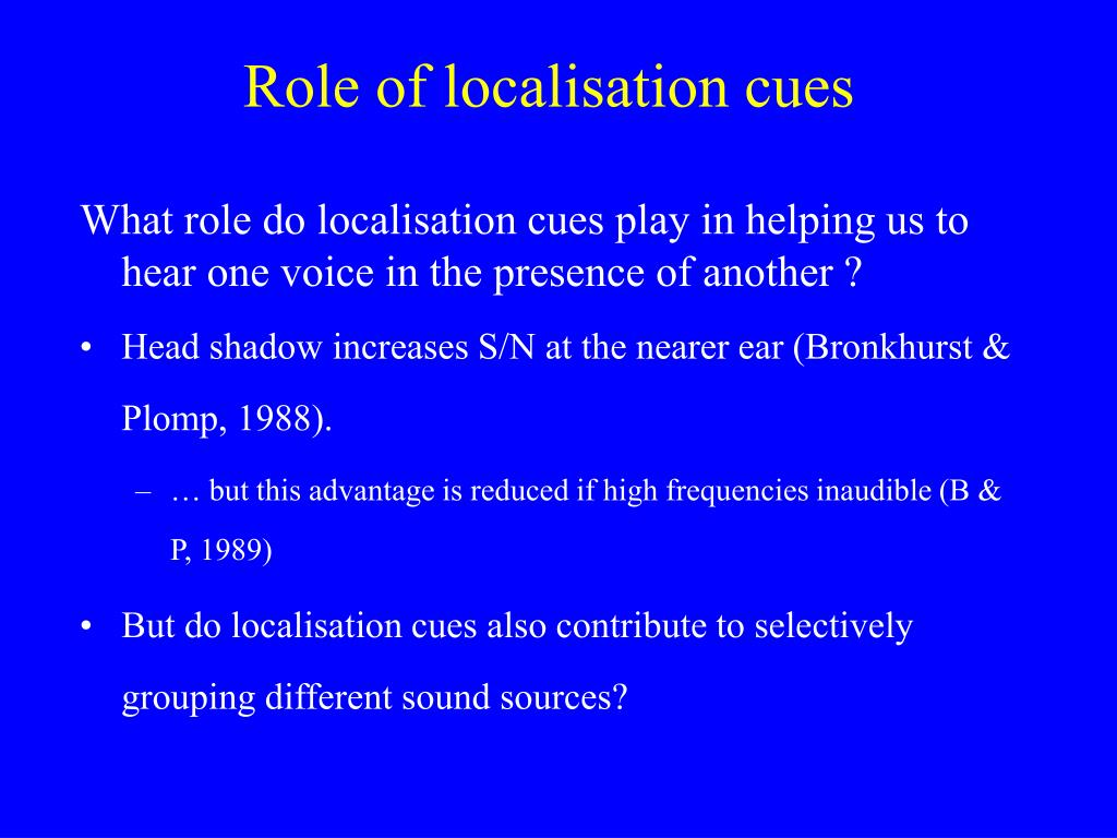Role of localisation cues