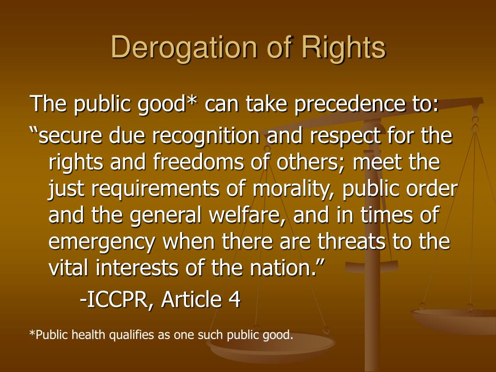 Derogation of Rights