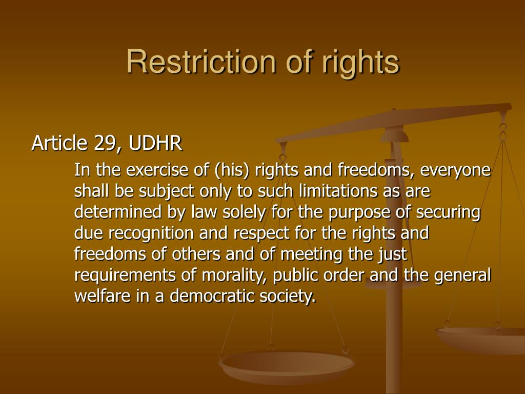 Restriction of rights